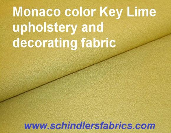 Pattern Monaco color Key Lime solid plain, slightly textured, upholstery and decorating fabric
