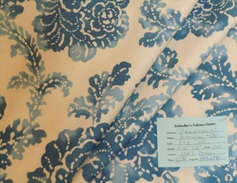 Schindler's Upholstery and Fabric Shop tag for Pattern Morning Tide home decor fabric color Blue Sand Floral Design
