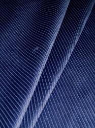 Draped curtain image of Navy Blue Small Wale Pincord Home Decor Velvet Corduroy Fabric