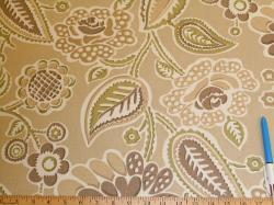 Sample of paisley floral print on P Kaufmann's Pattern Outdoor Bertie, Color Sand
