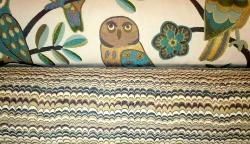 Rolls of Owls and Stripes Upholstery Coordinates