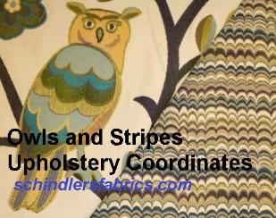 Coordinating Owls & Trees Design and Railroaded Stripe Upholstery Fabrics