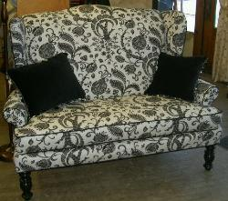 Sofa in Braemore Textiles Pattern Desmond Color Domino (Black on White) Decorating Fabric on consignment