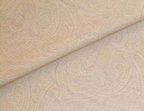 Closeup folded image of P Kaufmann Fabrics Closeout Paisley color Cream textured tone on tone design in washed cotton