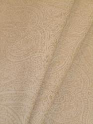 Draped curtain image of Closeout Paisley color Cream Decorator fabric textured tone on tone design color Cream, from P Kaufmann Fabrics Warehouse Clearance