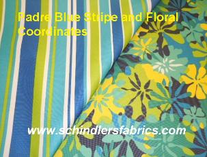 Schindler's Fabrics Padre Blue Stripe and Floral Coordinates image