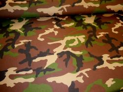Angled image of outdoor and marine canvas in camouflage, colors black, tan, green and dark brown