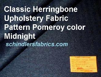 Classic Herringbone Upholstery Fabric Pattern Pomeroy color Midnight, traditional design that exudes class, Commercial Contract grade