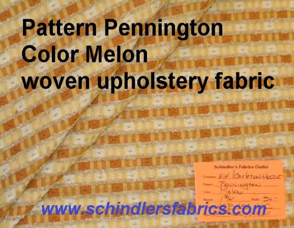 Schindlers Fabrics Shop tag for Pattern Pennington Color Melon woven upholstery fabric with railroaded stripes and chenille accents