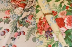 Draped curtain image of The Peony Tree Chintz Fabric Color Summer or Yellow