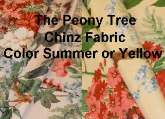 Peony Tree English Chinz Fabric Color Summer or Yellow Floral Chinz