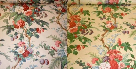 The Peony Tree Chintz Fabric Color Summer or Yellow, from our Bailey and Griffin special buy page, beautiful traditional discounted English made chinz