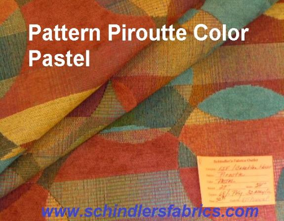 Schindler's Fabrics Shop tag for Piroutte Color Pastel woven upholstery fabric with contemporary striped design and chenille accents