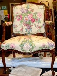 Project Emaline Italian Toile chair, upholstered in extreme high end multipurpose interior decor expansive floral toile fabric