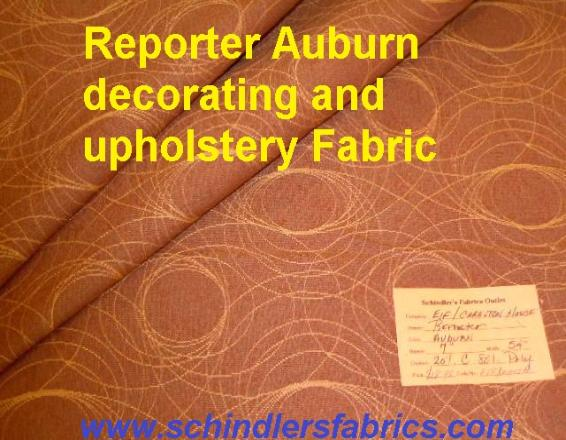 Schindler's fabric Shop tag for Pattern Reporter Color Auburn woven decorating and upholstery fabric