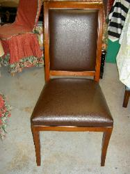 Reupholstered chair in Rustico Bark Vinyl - Click for Larger Picture