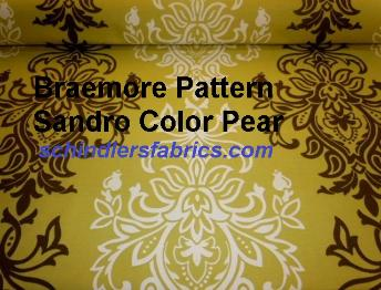 Braemore Pattern Sandro Color Pear, large scale Baroque Damask design decorator fabric, color group yellows, greens, browns
