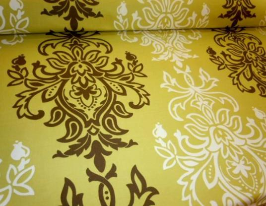 large scale Baroque Damask design decorator fabric, color group yellows, greens, browns, Braemore Pattern Sandro Color Pear