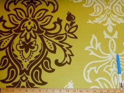 Sample of Baroque Damask design decorator fabric, Braemore Pattern Sandro Color Pear