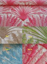 Woven Jacquard Floral Indoor Outdoor Woven Decorator Fabric, pattern Sego Palm, perfect for patio furniture and boat cushions, high UV resistant polyester for longer life and better durability, made in the USA, Colors Flax, Lime, Baltic, Berry