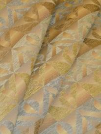 Pattern Singular Color Celadon woven upholstery fabric with contemporary geometric striped design and chenille accents