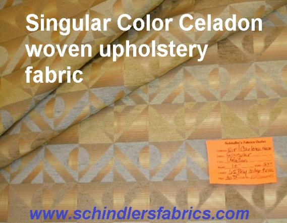 Schiindler's Fabrics Shop tag for striped upholstery fabric pattern Singular Celadon