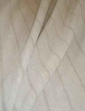Draped curtain image of Softline Sandridge in color 1 Natural Linen Stripe Drapery and Curtain Fabric by the yard