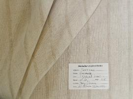 Schindler's Upholstery Shop tag for Stripe Drapery and Curtain Fabric in Color 1 Natural Linen