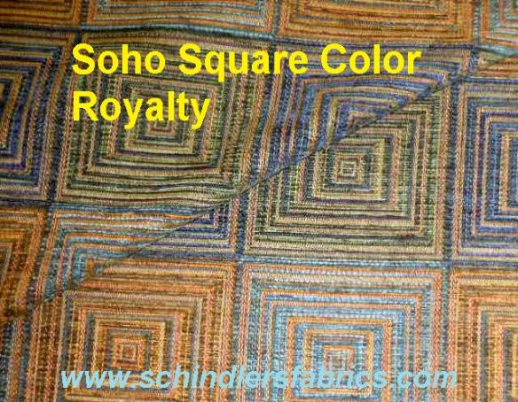 Schindler's Fabrics Shop label for Pattern Soho Square in Color Royalty Upholstery Fabric contemporary geometric chenille accented pattern
