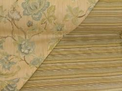 Pattern Deville Railroaded Stripe and Pattern Greenbrier woven jacquard floral, for furniture upholstering and other interior decorating, in our Erie Islands Fabrics collection