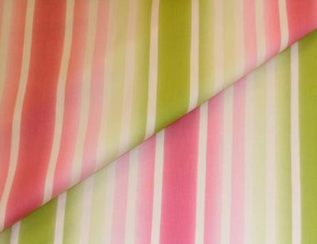 Closeup folded image of Stillwater Stripe design decor fabric color Sorbet, from Braemore Textiles Warehouse Clearance