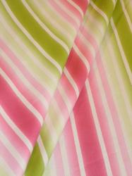 Draped curtain image of Stillwater Stripe Design Decorator fabric from Braemore Textiles clearance, color Sorbet