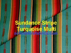 Schindler's Fabrics label for Laura & Kiran Sundance Stripe Turquoise Multi