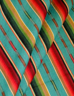 Draped curtain image of Sundance Stripe Color Turquoise Multi from Laura & Kiran