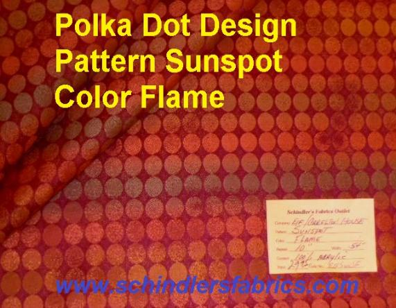 Schindler's Fabrics Shop tag for Pattern Sunspot Color Flame polka dot design woven decorating and upholstery fabric