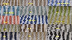 Ticking Stripe Indoor Outdoor Woven Decorator Fabric, pattern Tic, perfect for patio furniture, boat cushions, other sun exposed home decorating, high UV resistant polyester, Colors Bisque, Wheat, Stone Washed Denim, French Blue, Spa, Lime, Coral, Royalty Blue, Butter Cream, Dill, Pecan, Stone, Navy, Dune, Black