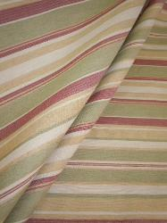 Draped curtain image of Tahitian Night Railroaded Stripe Upholstery Fabric