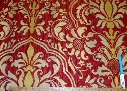 Sample of Tantalor in Color Paprika railroaded floral medallion damask Upholstery Fabric