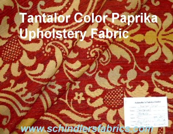Schindler's Fabrics Shop tag for Tantalor Color Paprika Upholstery Fabric