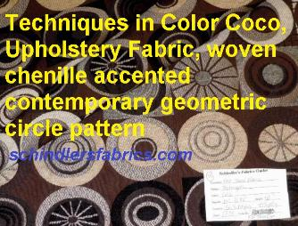 Techniques in Color Coco Upholstery Fabric woven chenille accented contemporary geometric circle pattern