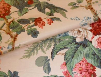 Closeup of Discounted Color Summer Peony Tree English Chintz Fabric