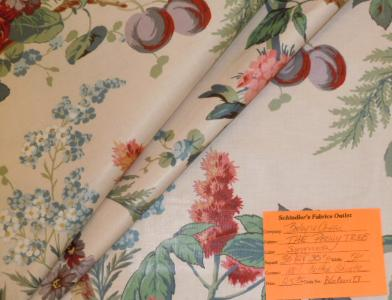Schindler's Upholstery and Fabric Shop tag for The Peony Tree English Chintz Fabric Color Summer