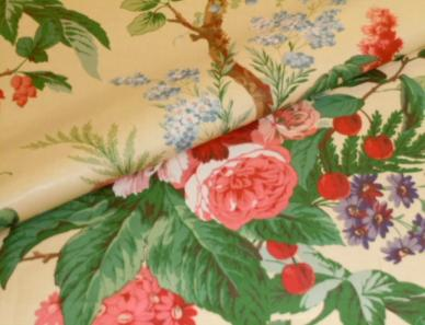 Closeup folded image of The Peony Tree English Chintz Fabric Yellow Color Yellow, from our Bailey and Griffin special buy page