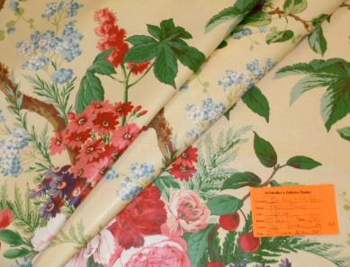 Schindler's Fabrics and Upholstery Shop tag for Discounted Color Yellow Peony Tree English Chintz Fabric