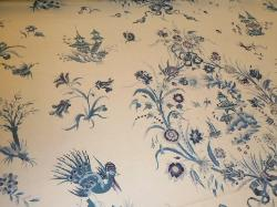 Angled image of Floral and Oriental Pagoda Design,  Vintage Country House Decorator Fabric