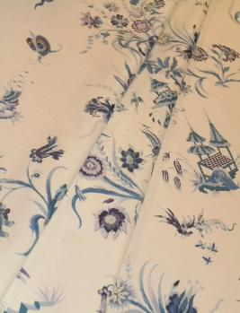 Draped curtain image of Chintz Pattern Thurstone Color Blue, Vintage Country House Decorator Fabric