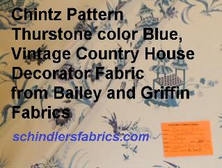 Chintz Pattern Thurstone color Blue,  a Floral and Oriental Pagoda Design, Vintage Country House Decorator Fabric