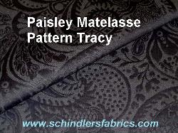 Schindler's Fabric Shop label for Pattern Tracy Paisley Matelasse