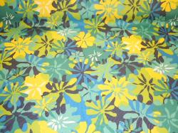 Pattern Padre Tropical Floral Navy outdoor and marine canvas color blues, yellow and white flowers up the roll