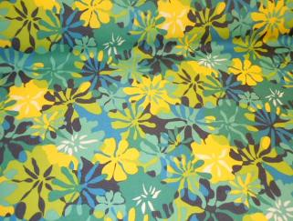 Angle image of Pattern Padre Tropical Floral Navy outdoor and marine canvas color blues, yellow and white flowers up the roll